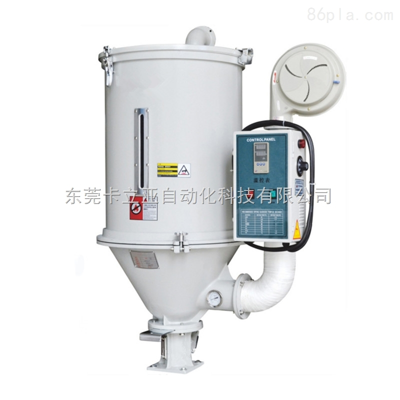 料斗干燥机工作原理 在原料处理中,料斗干燥机通过干燥风机将恒定的高温风吹进干燥桶内,烘烤原料后,将桶内原料原有的水分带走从而达到去除原料所含水分的目的。风机吹出来的风经过电热加热后变成了高温干燥热风,通过护屏器与孔屏器,使热风能均匀分散在干燥桶风干燥桶内的原料。可选配热风回收装置,吹出来的风经过回风过滤后进入干燥风机从而形成一个封闭的循环回路,节约用电。 料斗干燥机应用范围 料斗干燥机是干燥塑胶原料zui有效且经济的机型,可以干燥因、包装、运送或回收而潮湿的原料。直结式的设计特别适合于直接安装在塑胶成型机